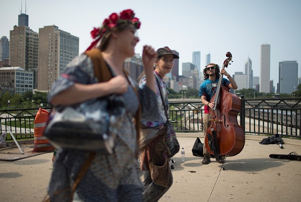 CHICAGO, IL - JULY 03:  Matt Coglianese entertains fans heading to a Grateful Dead concert at Soldier Field on July 3, 2015 in Chicago, Illinois. The show is one of three scheduled to be held in Chicago this weekend to mark the end of the band's 50 years together.  (Photo by Scott Olson/Getty Images)