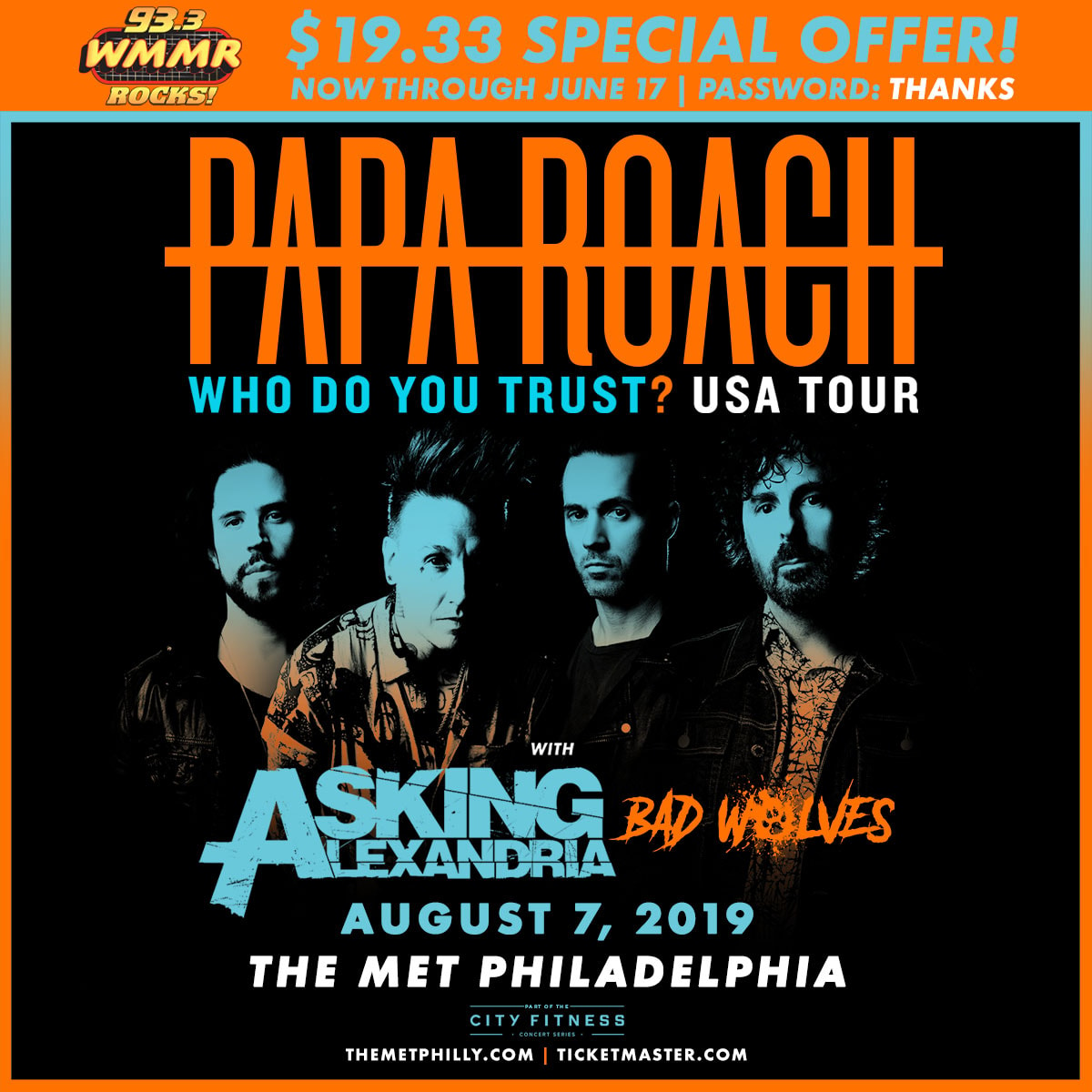 Papa Roach $19.33 Ticket Special Offer