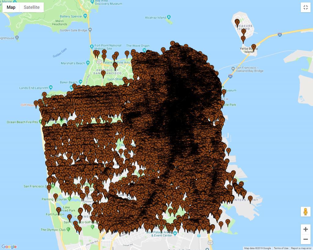 Image result for সান ফ্রান্সিসকোর মানুষের বিষ্ঠা দ্বারা পরিপূর্ণ এলাকাগুলোর মানচিত্র