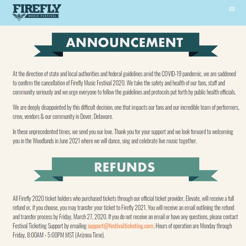 Firefly 2020 Cancelled