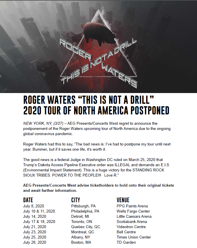 Roger Waters Press Release postponing 2020 Tour to 2021